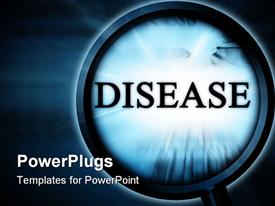 PowerPoint template displaying disease on a blue background with a magnifier in the background.