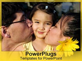 PowerPoint template displaying asian-American family kisses their hapa daughter's cheeks in the background.