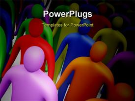 PowerPoint template displaying lots of 3D characters walking together on a white surface