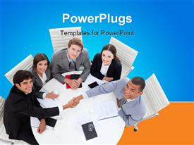 PowerPoint template displaying diverse business group closing a deal in the office in the background.