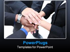 Diverse group of workers with their hands together in form of teamwork template for powerpoint