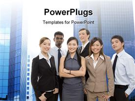 PowerPoint template displaying group of diverse individuals make up a happy business team in the background.