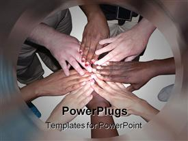 PowerPoint template displaying stacked hands of people of various ethnicities and colors showing cooperation, unity, teamwork