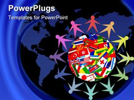PowerPoint template displaying colorful figures holding hands sitting around Planet Earth covered in various flags of countries of the world