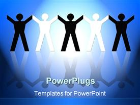 PowerPoint template displaying five paper figures on gradient blue and white reflective background