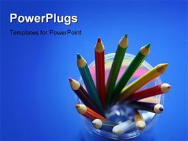 PowerPoint template displaying 12 well arranged pencils over a blue background