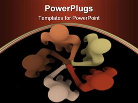 PowerPoint template displaying racially diverse people coming together as a team on brown and black background