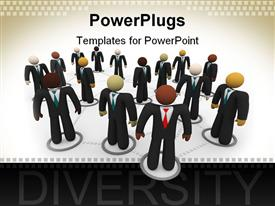 PowerPoint template displaying lots of human figures dressed cooperate standing on a white background