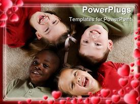 PowerPoint template displaying diversity series - four children playing together in the background.