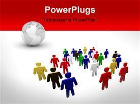 PowerPoint template displaying diversity and teamwork. people of different race. different people concept