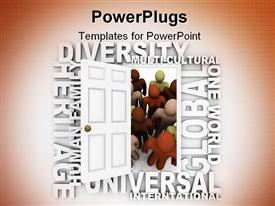 PowerPoint template displaying door opening to people of different colors surrounded by words representing diversity