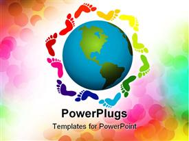 PowerPoint template displaying diversity metaphor with rainbow footprints surrounding Earth globe world