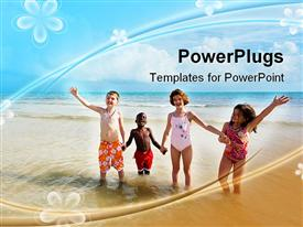 PowerPoint template displaying four children on beach, diversity, flower background