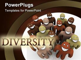 PowerPoint template displaying different colored people with big smile on face