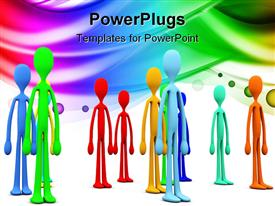 PowerPoint template displaying a number of people with multicolored background
