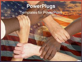 Multiracial hands holding each other in unity powerpoint template