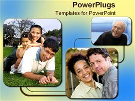 PowerPoint template displaying three tile's showing a family, and elderly man and kids
