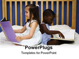 PowerPoint template displaying two small children reading together on a bed in the background.