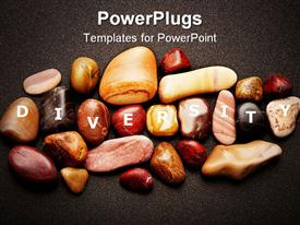 PowerPoint template displaying variety of smooth pebbles of different colors is a metaphor for ethnic diversity