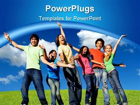 PowerPoint template displaying smiling group of young people belong to different races