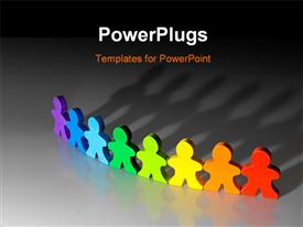 PowerPoint template displaying 3D graphics of eight paper cut multi colored human characters