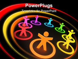 PowerPoint template displaying collection of colorful people in circles in the background.