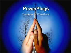 PowerPoint template displaying black teen hand and a white teen hand forming a church steeple with steeple in background