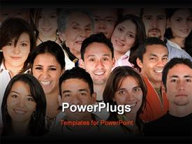 PowerPoint template displaying diverse group of faces from all over the world
