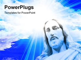PowerPoint template displaying blue cloudy sky with statue of Jesus and light glow