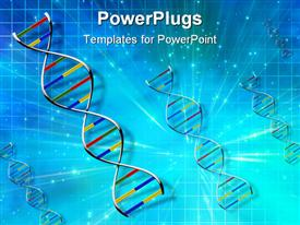 PowerPoint template displaying dNA Strand in Abstract blue light burst background