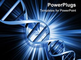 PowerPoint template displaying dNA strands on an abstract blue background