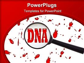 Illustration showing magnifying glass with blood and words DNA template for powerpoint