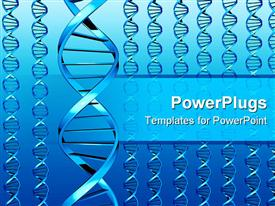 PowerPoint template displaying many blue DNA (double helixes)