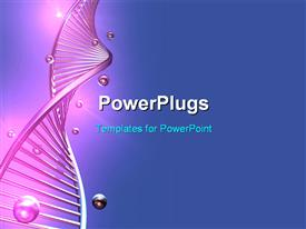 PowerPoint template displaying a long purple colored single DNA strand on a blue background