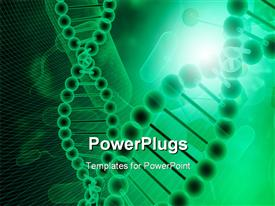 PowerPoint template displaying two long strands of DNA on a lit green background