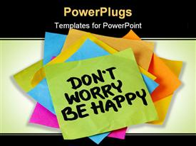 PowerPoint template displaying pile of multi colored sticky notes with a
