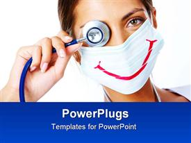 PowerPoint template displaying assistant in mask with big smile on it looking at camera