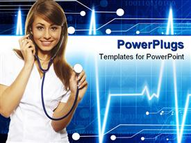 PowerPoint template displaying beautiful female doctor standing isolates on white in the background.