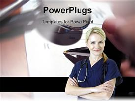 PowerPoint template displaying a lady doctor with stethoscope in the background