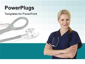 PowerPoint template displaying cute smiling nurse in the background.