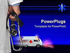 PowerPoint template displaying doctor holding stethoscope in the background.