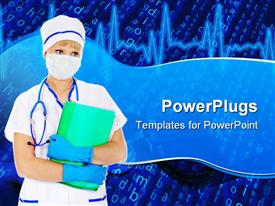 PowerPoint template displaying doctor with mask, stethoscope and surgery gloves, holding report files