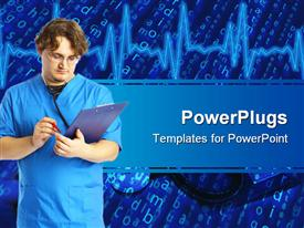 PowerPoint template displaying doctor with notepad in the background.