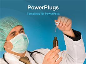 PowerPoint template displaying doctor at his work with a medicine in the background.