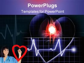 PowerPoint template displaying heart beat on a monitor on a dark background