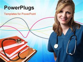 PowerPoint template displaying lady doctor wearing scrubs in the background.