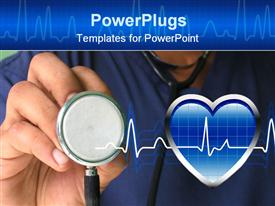PowerPoint template displaying male nurse holding stethoscope in the background.