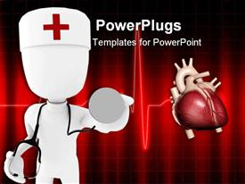 PowerPoint template displaying man doctor holding a stethoscope in his hands