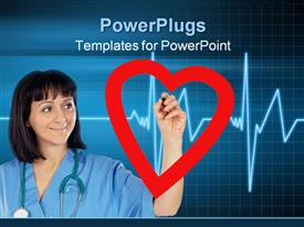 PowerPoint template displaying medical cardiologist drawing a heart in the background.
