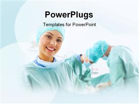PowerPoint template displaying beautiful surgeon hospital theatre surgery ongoing background